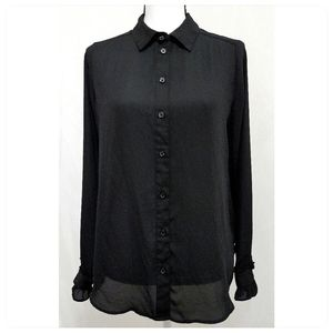3/$20 Black Gothic Sheer Button Up Blouse